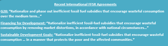 Recent international FFSR agreements