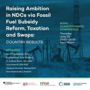 Raising Ambition in NDCs via fossil fuel subsidy reform, taxation and swaps: country results